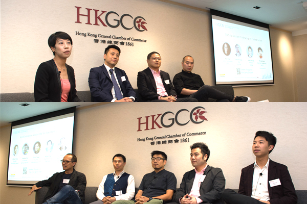 7 Entrepreneurs, Ray Chan of 9GAG, Vincent Chow of En trak, Jacky Cheung of Qupital, Wilson Fung of DoctorNow Needs, Andrew Tsui of Rooftop Republic, Dodo Cheng of Sharing Kitchen HK, Arnold Chan of Teach4HK spoke at HKCSI x YEC Forum