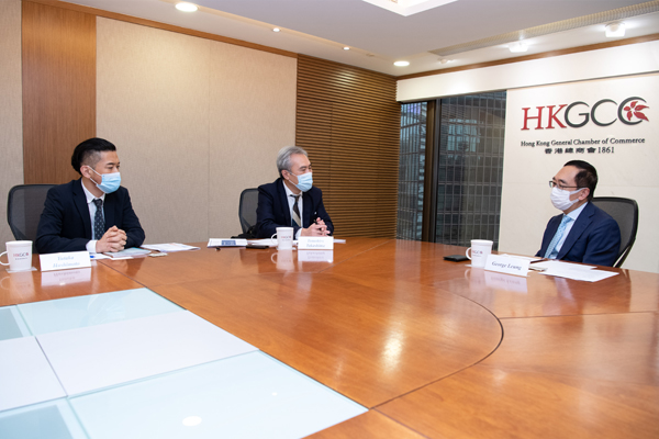Tomohiro Takashima, Director General of JETRO Hong Kong, paid a courtesy visit on the Chamber's CEO George Leung on 10 March to present the findings of JETRO's recent survey on Japanese companies' confidence in Hong Kong's business environment, and to discuss ways to collaborate and promote Japan-Hong Kong business.